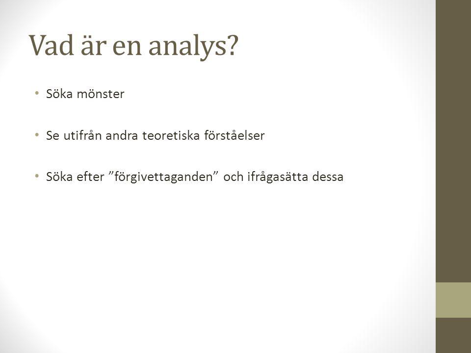 """Vad är en analys? Söka mönster Se utifrån andra teoretiska förståelser Söka efter """"förgivettaganden"""" och ifrågasätta dessa"""