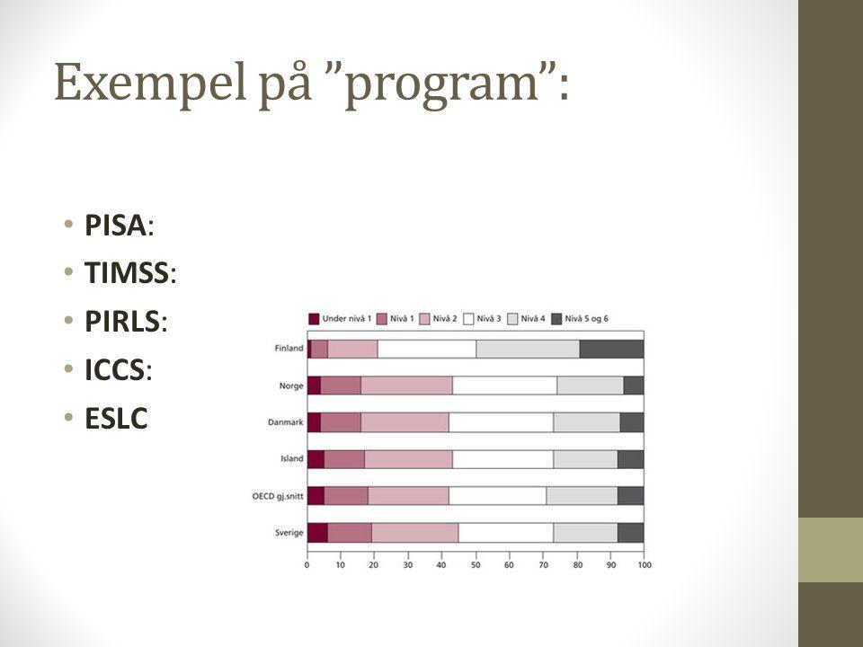 Exempel på program : PISA: TIMSS: PIRLS: ICCS: ESLC