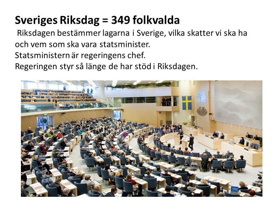 Sveriges Riksdag = 349 folkvalda Riksdagen bestämmer lagarna i Sverige, vilka skatter vi ska ha och vem som ska vara statsminister. Statsministern är