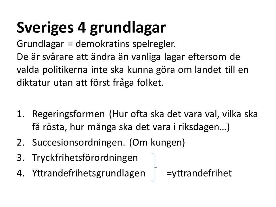 Sveriges 4 grundlagar Grundlagar = demokratins spelregler. De är svårare att ändra än vanliga lagar eftersom de valda politikerna inte ska kunna göra