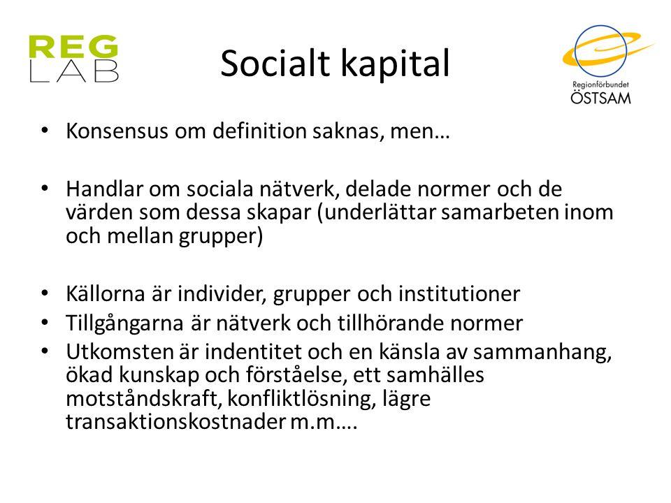 Socialt kapital Konsensus om definition saknas, men… Handlar om sociala nätverk, delade normer och de värden som dessa skapar (underlättar samarbeten