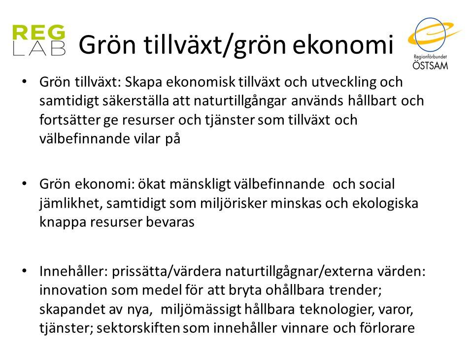Grön tillväxt/grön ekonomi Grön tillväxt: Skapa ekonomisk tillväxt och utveckling och samtidigt säkerställa att naturtillgångar används hållbart och f