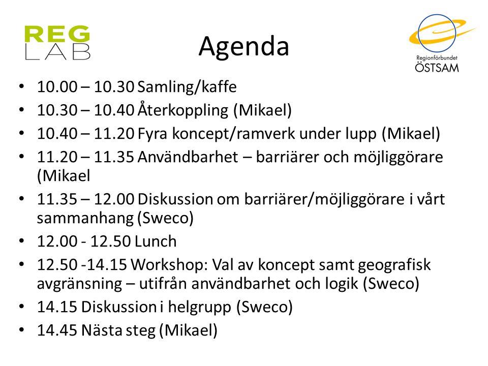 Agenda 10.00 – 10.30 Samling/kaffe 10.30 – 10.40 Återkoppling (Mikael) 10.40 – 11.20 Fyra koncept/ramverk under lupp (Mikael) 11.20 – 11.35 Användbarh