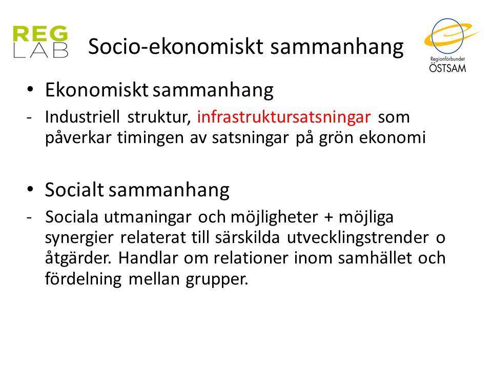 Socio-ekonomiskt sammanhang Ekonomiskt sammanhang -Industriell struktur, infrastruktursatsningar som påverkar timingen av satsningar på grön ekonomi S