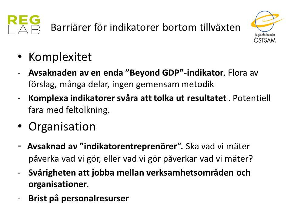 """Komplexitet -Avsaknaden av en enda """"Beyond GDP""""-indikator. Flora av förslag, många delar, ingen gemensam metodik -Komplexa indikatorer svåra att tolka"""