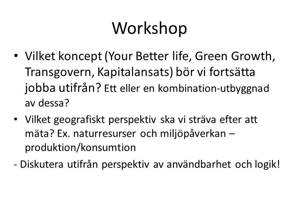 Workshop Vilket koncept (Your Better life, Green Growth, Transgovern, Kapitalansats) bör vi fortsätta jobba utifrån? Ett eller en kombination-utbyggna