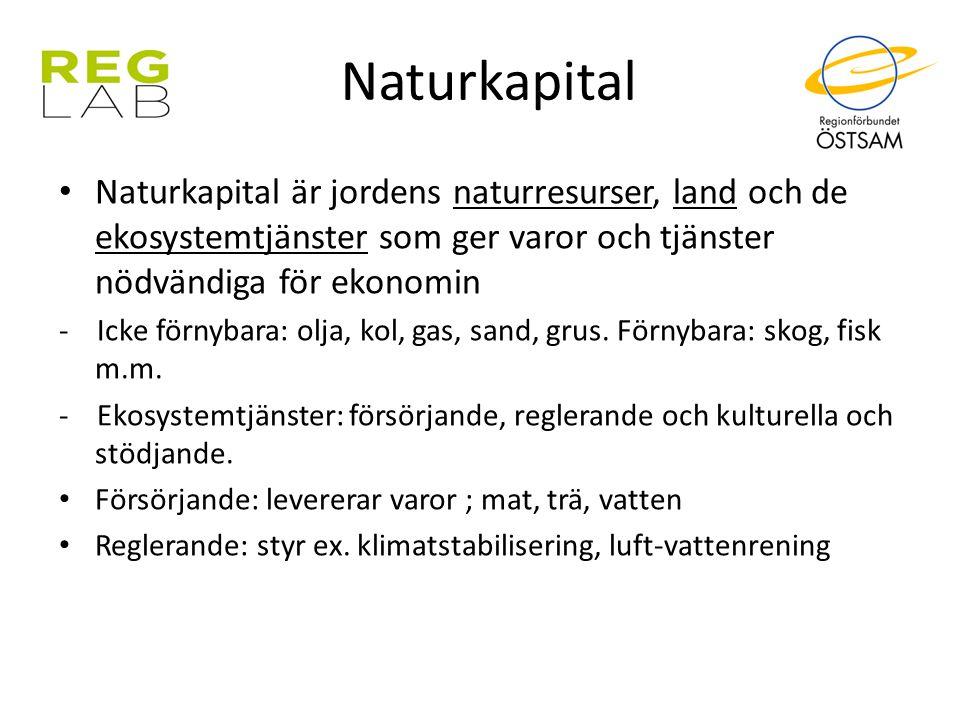 Naturkapital Naturkapital är jordens naturresurser, land och de ekosystemtjänster som ger varor och tjänster nödvändiga för ekonomin - Icke förnybara: