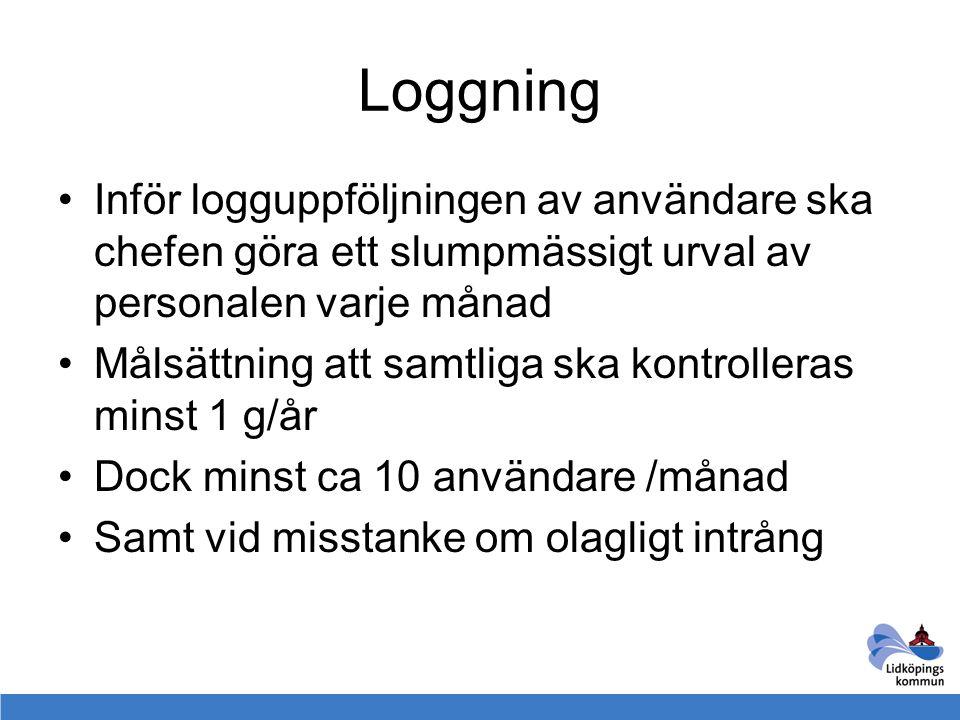 Loggning Inför logguppföljningen av användare ska chefen göra ett slumpmässigt urval av personalen varje månad Målsättning att samtliga ska kontroller