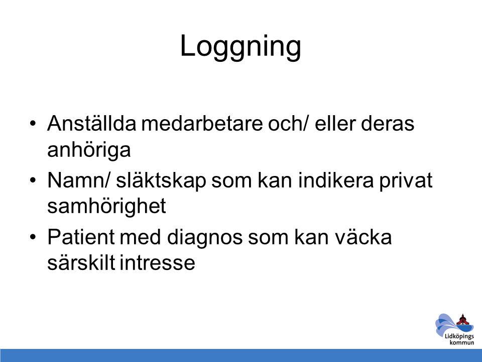 Loggning Anställda medarbetare och/ eller deras anhöriga Namn/ släktskap som kan indikera privat samhörighet Patient med diagnos som kan väcka särskil