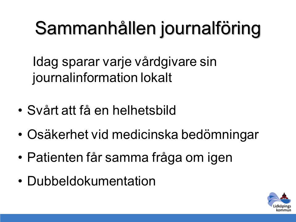 Sammanhållen journalföring Idag sparar varje vårdgivare sin journalinformation lokalt Svårt att få en helhetsbild Osäkerhet vid medicinska bedömningar