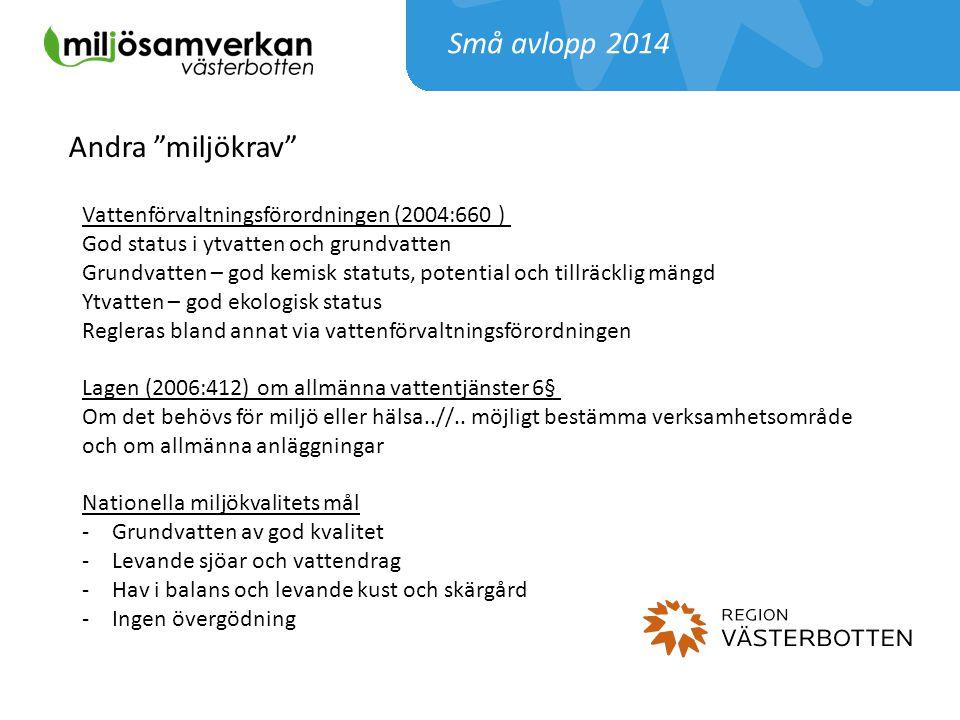 """Små avlopp 2014 Andra """"miljökrav"""" Vattenförvaltningsförordningen (2004:660 ) God status i ytvatten och grundvatten Grundvatten – god kemisk statuts, p"""