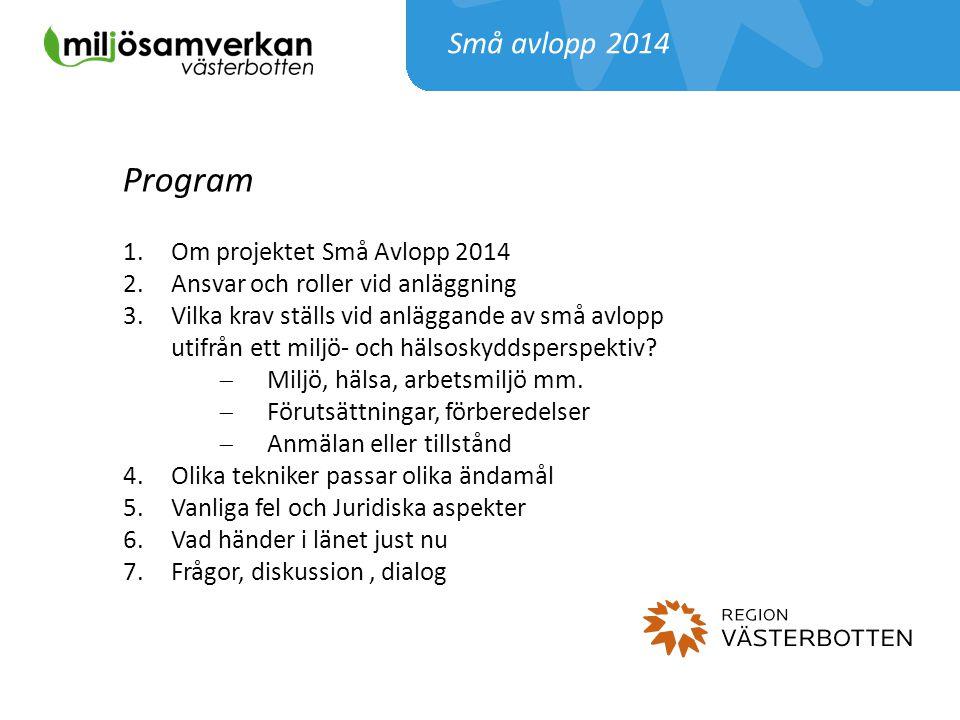 Små avlopp 2014 Program 1.Om projektet Små Avlopp 2014 2.Ansvar och roller vid anläggning 3.Vilka krav ställs vid anläggande av små avlopp utifrån ett