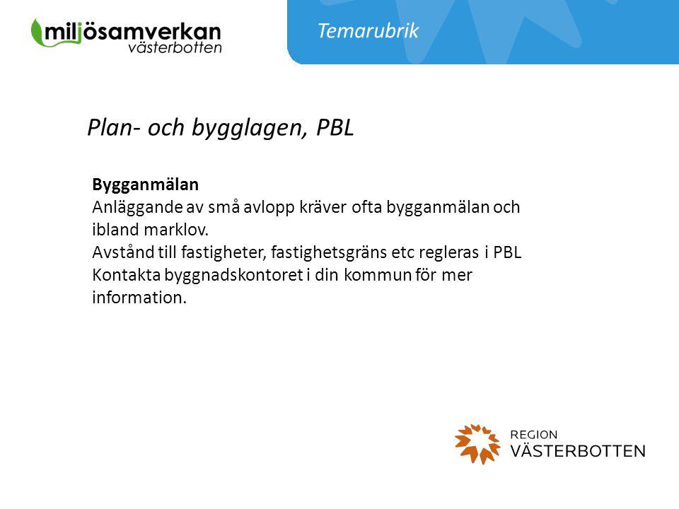 Temarubrik Plan- och bygglagen, PBL Bygganmälan Anläggande av små avlopp kräver ofta bygganmälan och ibland marklov. Avstånd till fastigheter, fastigh