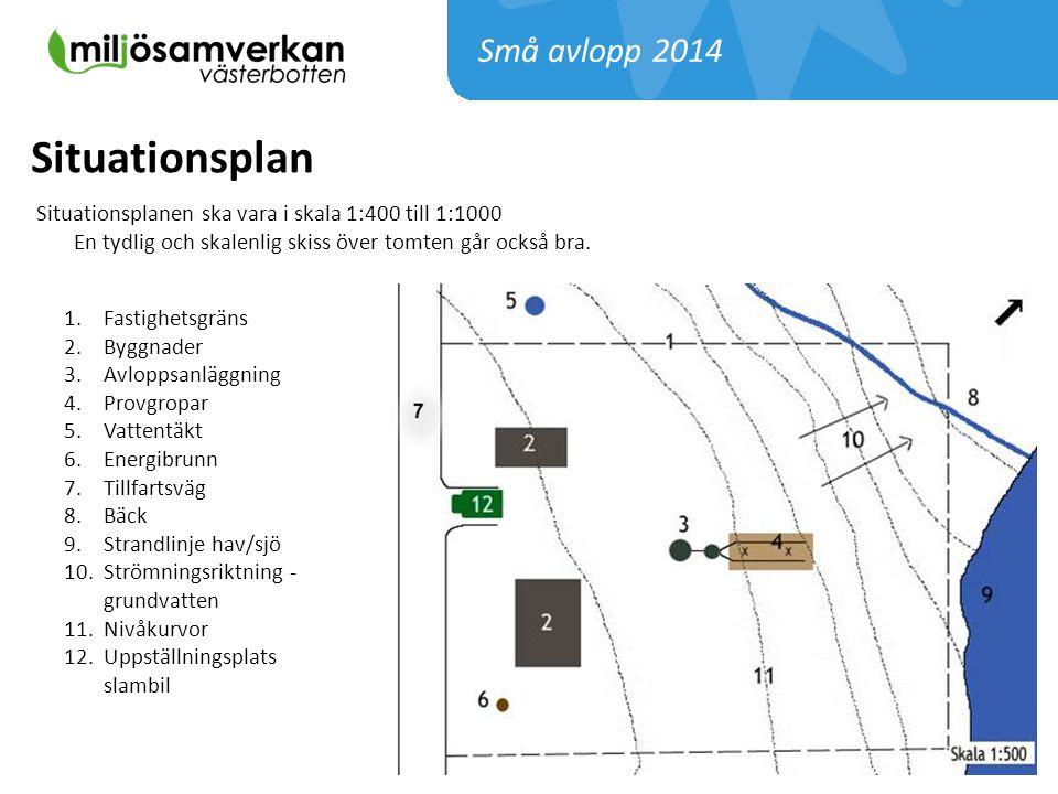 Situationsplanen ska vara i skala 1:400 till 1:1000 En tydlig och skalenlig skiss över tomten går också bra. 1.Fastighetsgräns 2.Byggnader 3.Avloppsan