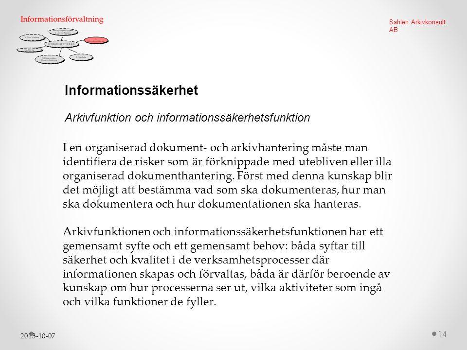 2013-10-07 14 Sahlen Arkivkonsult AB Informationssäkerhet I en organiserad dokument- och arkivhantering måste man identifiera de risker som är förknippade med utebliven eller illa organiserad dokumenthantering.