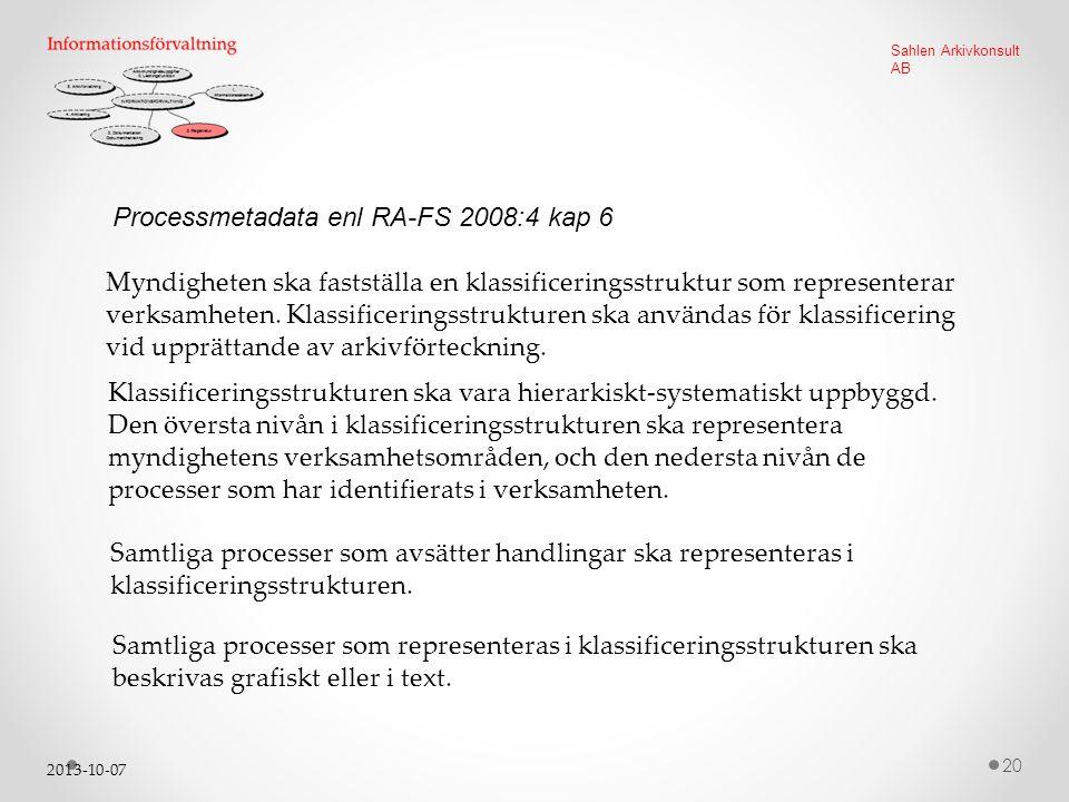 2013-10-07 20 Sahlen Arkivkonsult AB Processmetadata enl RA-FS 2008:4 kap 6 Myndigheten ska fastställa en klassificeringsstruktur som representerar verksamheten.