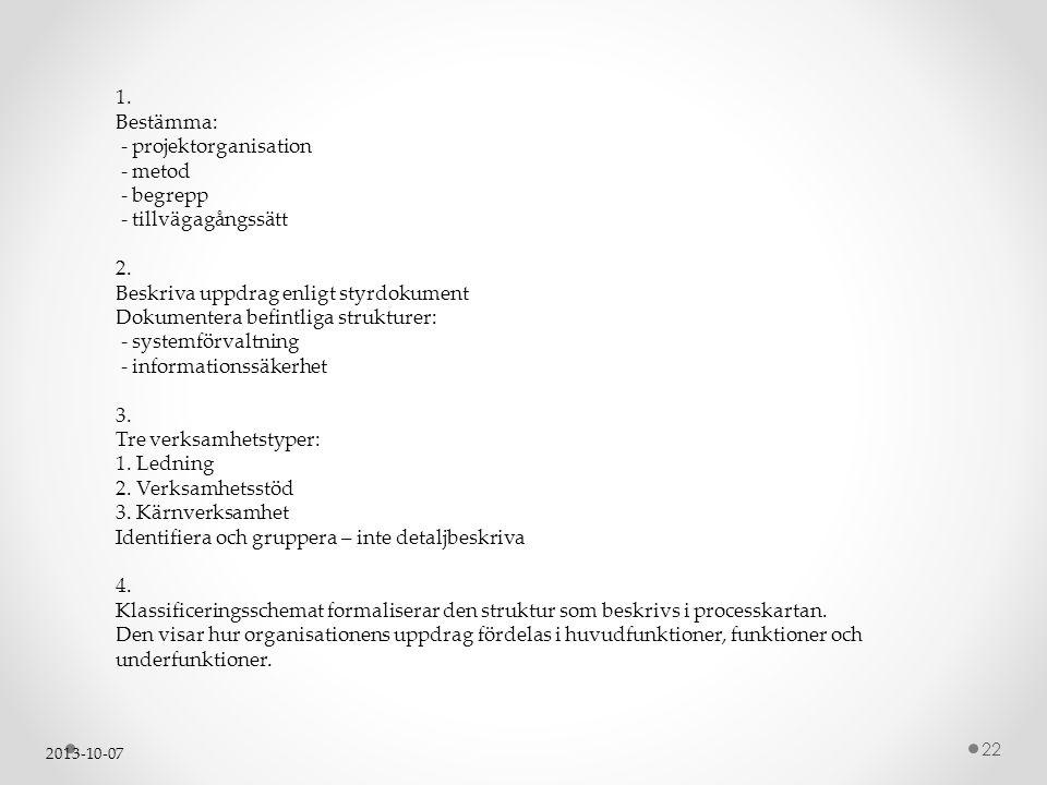 2013-10-07 22 1. Bestämma: - projektorganisation - metod - begrepp - tillvägagångssätt 2. Beskriva uppdrag enligt styrdokument Dokumentera befintliga