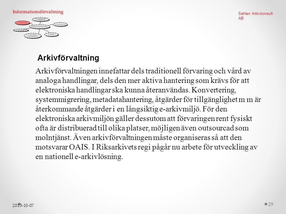2013-10-07 29 Sahlen Arkivkonsult AB Arkivförvaltning Arkivförvaltningen innefattar dels traditionell förvaring och vård av analoga handlingar, dels den mer aktiva hantering som krävs för att elektroniska handlingar ska kunna återanvändas.