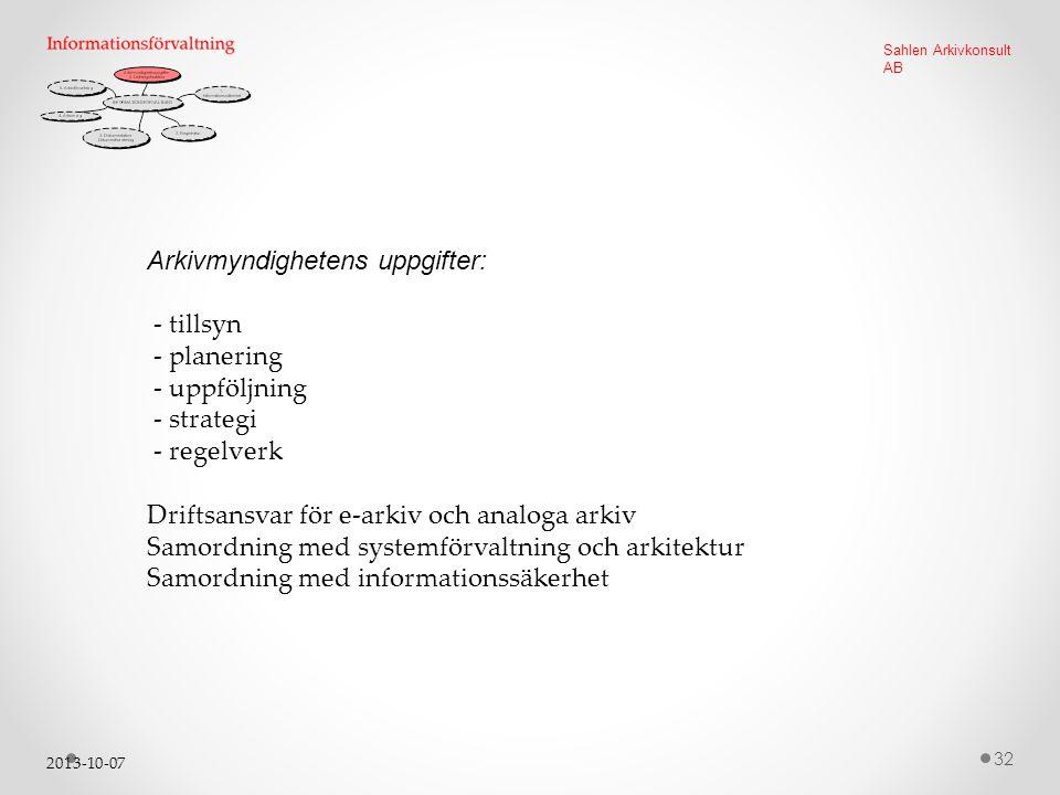 2013-10-07 32 Sahlen Arkivkonsult AB Arkivmyndighetens uppgifter: - tillsyn - planering - uppföljning - strategi - regelverk Driftsansvar för e-arkiv