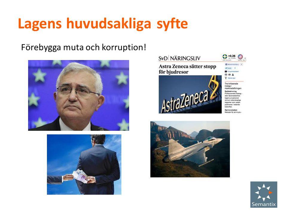 Lagens huvudsakliga syfte Förebygga muta och korruption!