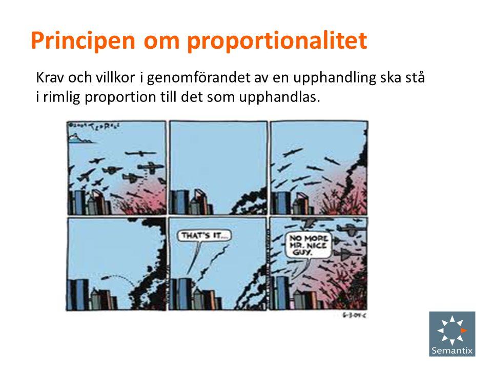 Principen om proportionalitet Krav och villkor i genomförandet av en upphandling ska stå i rimlig proportion till det som upphandlas.