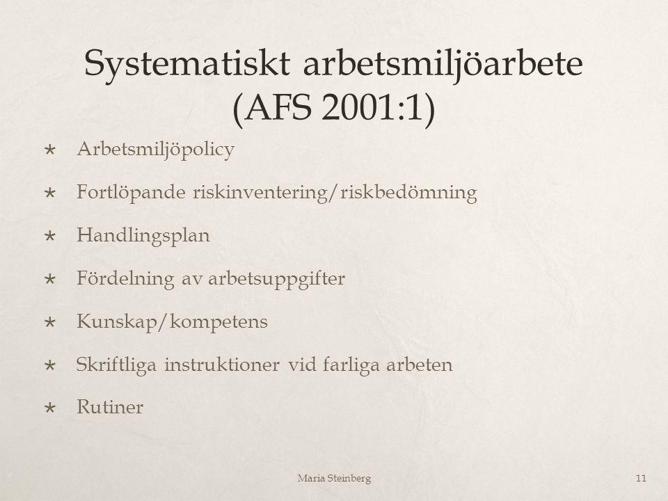 Systematiskt arbetsmiljöarbete (AFS 2001:1)  Arbetsmiljöpolicy  Fortlöpande riskinventering/riskbedömning  Handlingsplan  Fördelning av arbetsuppg