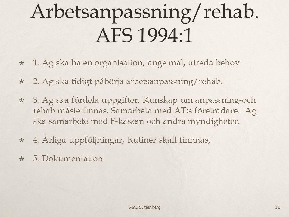 Arbetsanpassning/rehab. AFS 1994:1  1. Ag ska ha en organisation, ange mål, utreda behov  2. Ag ska tidigt påbörja arbetsanpassning/rehab.  3. Ag s