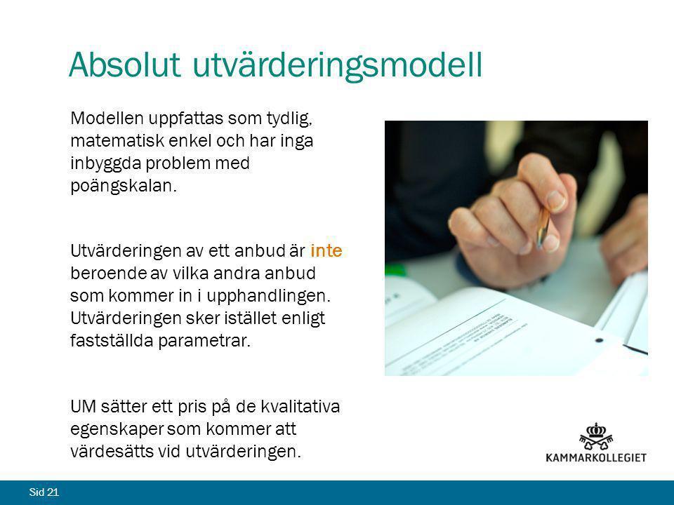Sid 21 Absolut utvärderingsmodell Modellen uppfattas som tydlig, matematisk enkel och har inga inbyggda problem med poängskalan. Utvärderingen av ett