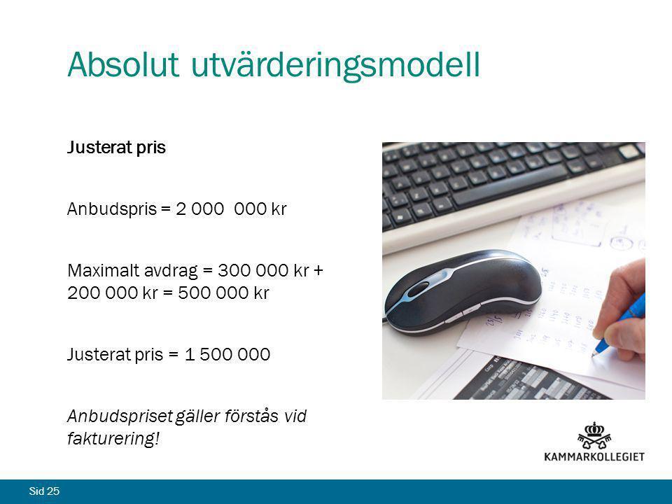 Sid 25 Absolut utvärderingsmodell Justerat pris Anbudspris = 2 000 000 kr Maximalt avdrag = 300 000 kr + 200 000 kr = 500 000 kr Justerat pris = 1 500