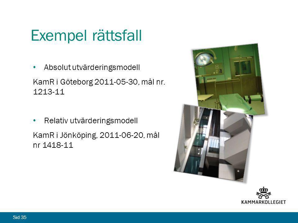 Sid 35 Absolut utvärderingsmodell KamR i Göteborg 2011-05-30, mål nr. 1213-11 Relativ utvärderingsmodell KamR i Jönköping, 2011-06-20, mål nr 1418-11