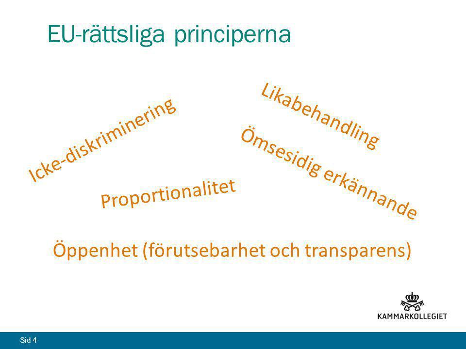 Sid 4 EU-rättsliga principerna Icke-diskriminering Likabehandling Ömsesidig erkännande Öppenhet (förutsebarhet och transparens) Proportionalitet
