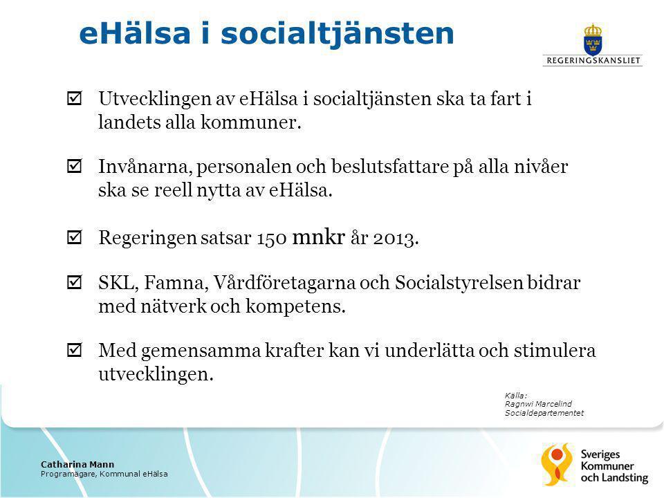  Utvecklingen av eHälsa i socialtjänsten ska ta fart i landets alla kommuner.  Invånarna, personalen och beslutsfattare på alla nivåer ska se reell