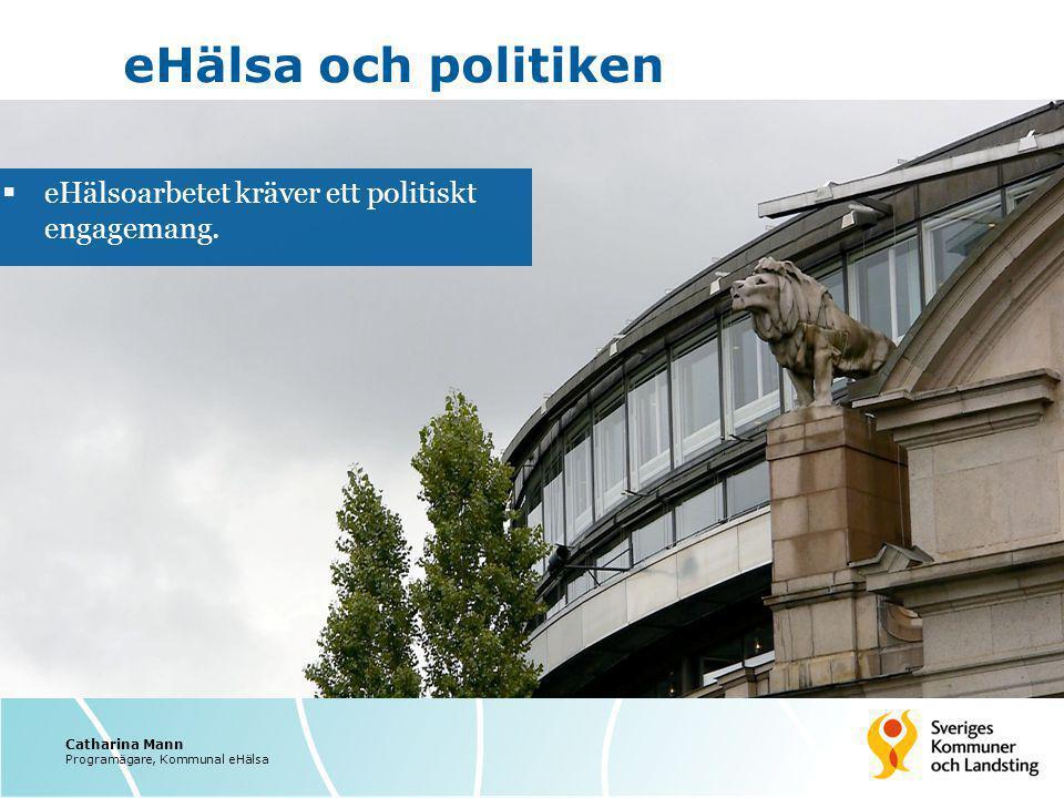 eHälsa och politiken  eHälsoarbetet kräver ett politiskt engagemang. Catharina Mann Programägare, Kommunal eHälsa