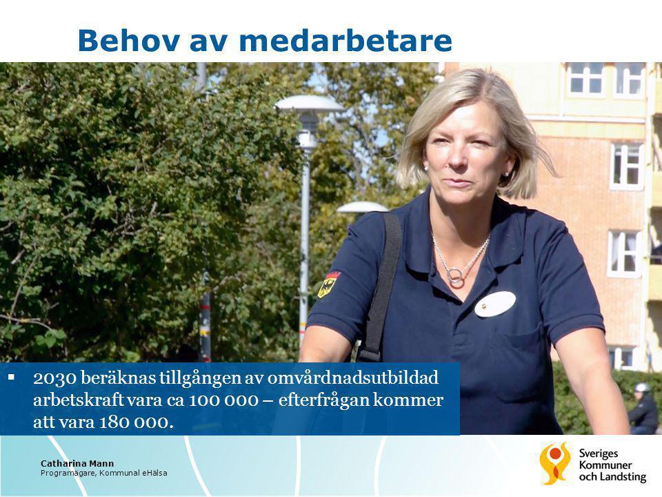 Behov av medarbetare  2030 beräknas tillgången av omvårdnadsutbildad arbetskraft vara ca 100 000 – efterfrågan kommer att vara 180 000. Catharina Man