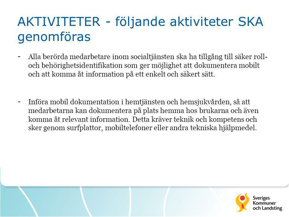 AKTIVITETER - följande aktiviteter SKA genomföras - Alla berörda medarbetare inom socialtjänsten ska ha tillgång till säker roll- och behörighetsident