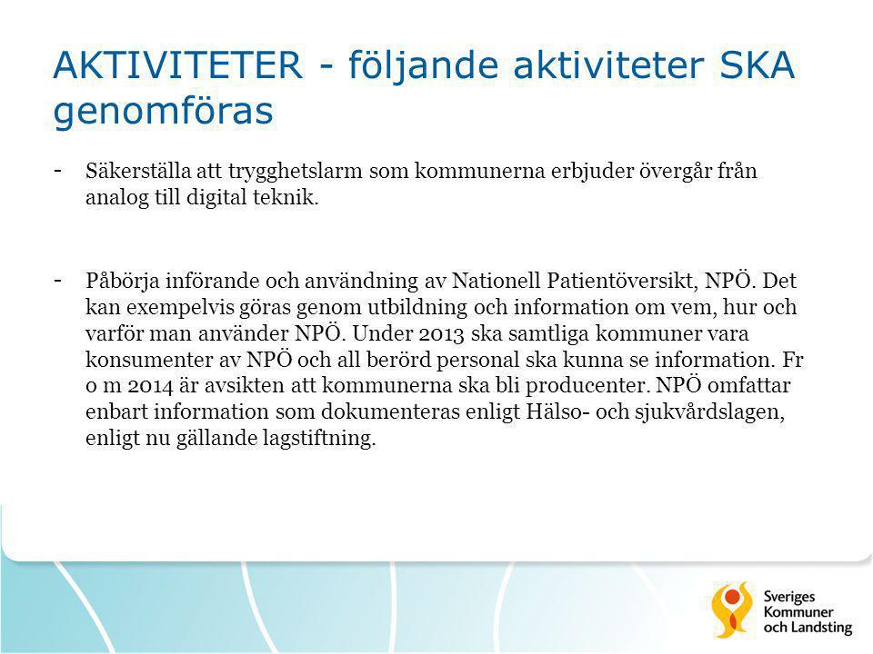 AKTIVITETER - följande aktiviteter SKA genomföras - Säkerställa att trygghetslarm som kommunerna erbjuder övergår från analog till digital teknik. - P