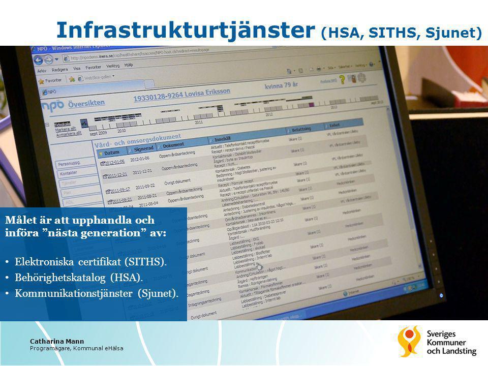 """Infrastrukturtjänster (HSA, SITHS, Sjunet) Målet är att upphandla och införa """"nästa generation"""" av: Elektroniska certifikat (SITHS). Behörighetskatalo"""