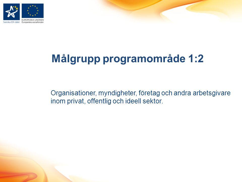 Målgrupp programområde 1:2 Organisationer, myndigheter, företag och andra arbetsgivare inom privat, offentlig och ideell sektor.