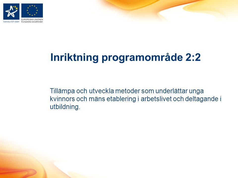 Inriktning programområde 2:2 Tillämpa och utveckla metoder som underlättar unga kvinnors och mäns etablering i arbetslivet och deltagande i utbildning.