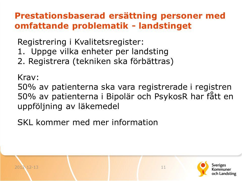 Prestationsbaserad ersättning personer med omfattande problematik - landstinget 2012-12-1311 Registrering i Kvalitetsregister: 1.Uppge vilka enheter p