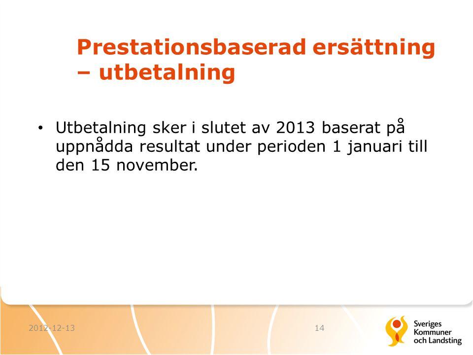 Prestationsbaserad ersättning – utbetalning 2012-12-1314 Utbetalning sker i slutet av 2013 baserat på uppnådda resultat under perioden 1 januari till