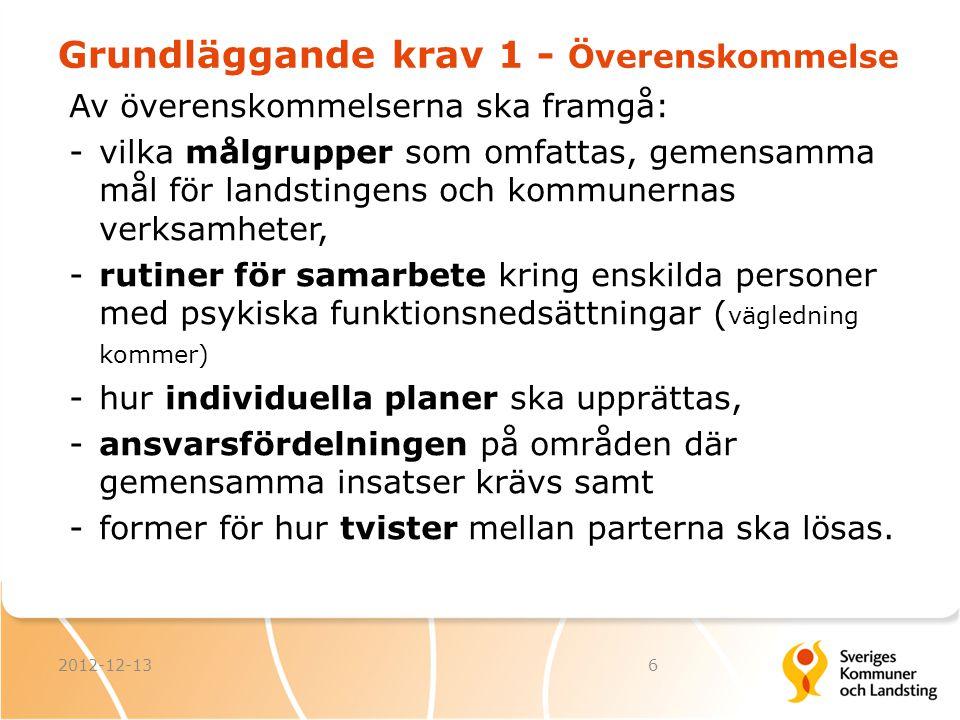 Grundläggande krav 1 - Överenskommelse Av överenskommelserna ska framgå: -vilka målgrupper som omfattas, gemensamma mål för landstingens och kommunern