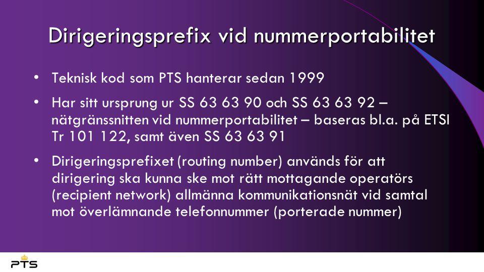 Dirigeringsprefix vid nummerportabilitet Teknisk kod som PTS hanterar sedan 1999 Har sitt ursprung ur SS 63 63 90 och SS 63 63 92 – nätgränssnitten vid nummerportabilitet – baseras bl.a.