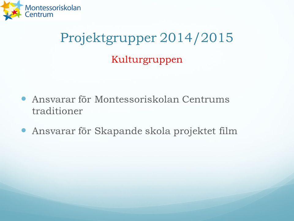 Projektgrupper 2014/2015 Kulturgruppen Ansvarar för Montessoriskolan Centrums traditioner Ansvarar för Skapande skola projektet film