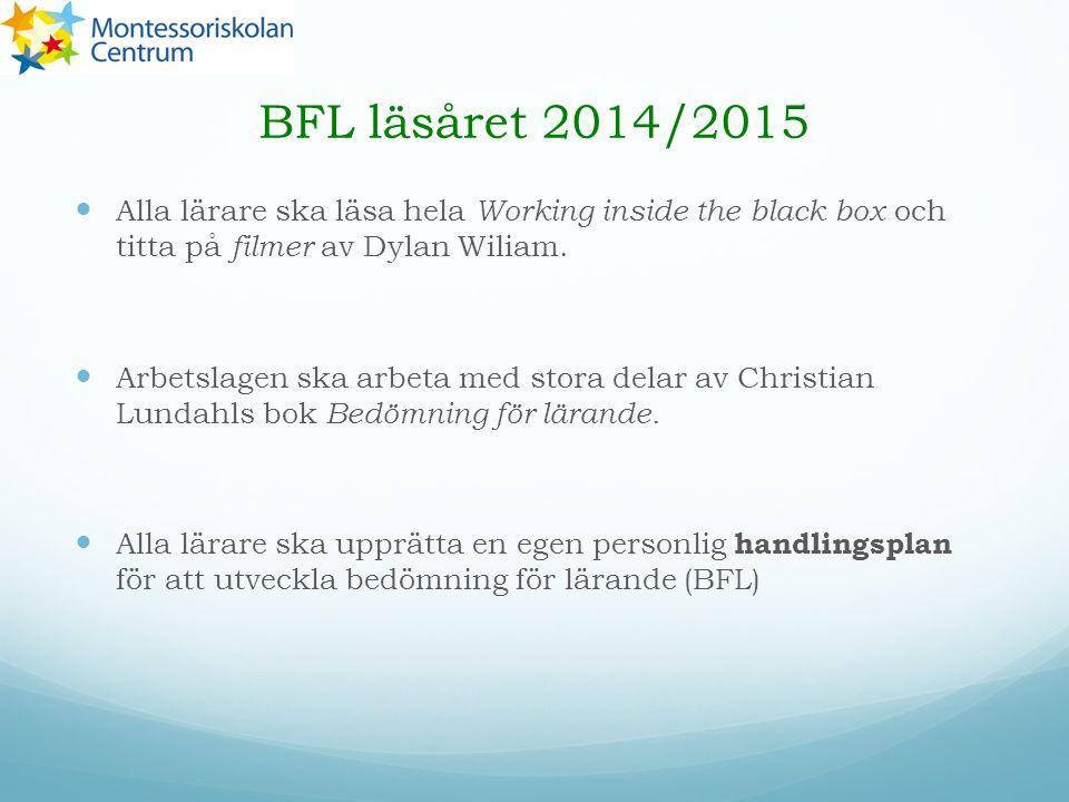 BFL läsåret 2014/2015 Alla lärare ska läsa hela Working inside the black box och titta på filmer av Dylan Wiliam. Arbetslagen ska arbeta med stora del