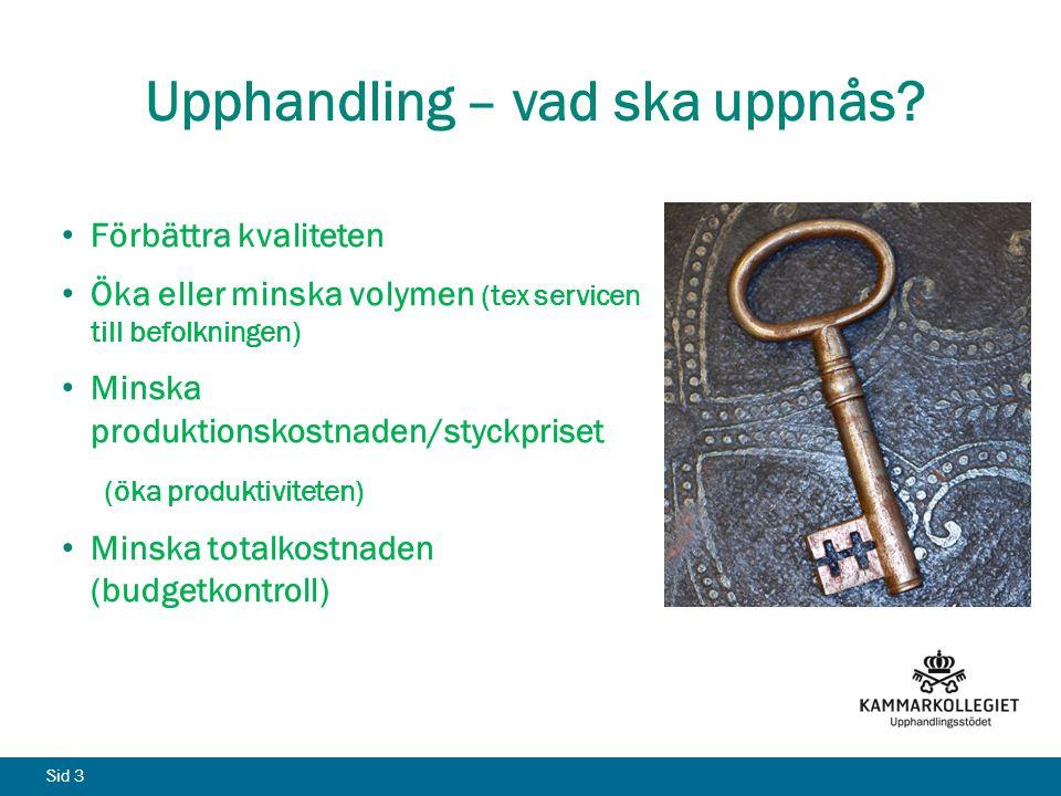 Sid 3 Upphandling – vad ska uppnås? Förbättra kvaliteten Öka eller minska volymen (tex servicen till befolkningen) Minska produktionskostnaden/styckpr