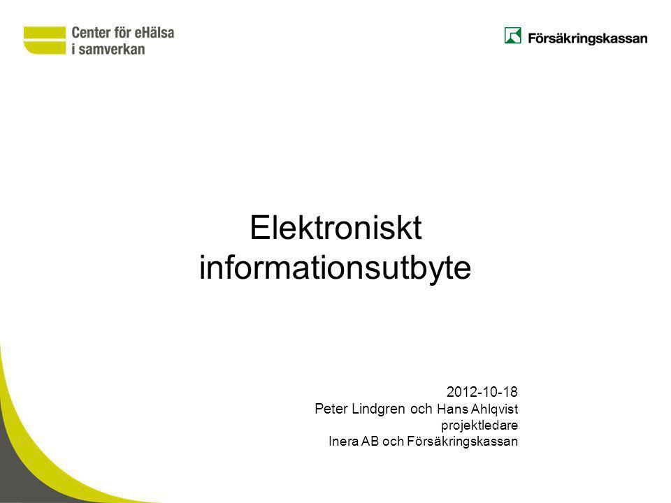 Elektroniskt informationsutbyte 2012-10-18 Peter Lindgren och Hans Ahlqvist projektledare Inera AB och Försäkringskassan