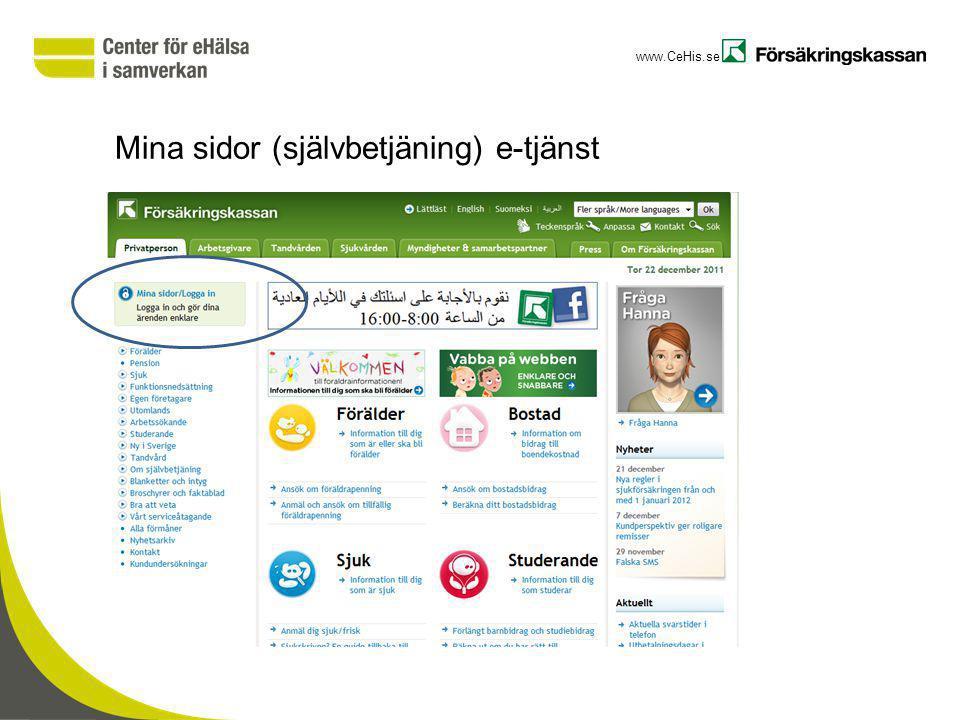www.CeHis.se Mina sidor (självbetjäning) e-tjänst