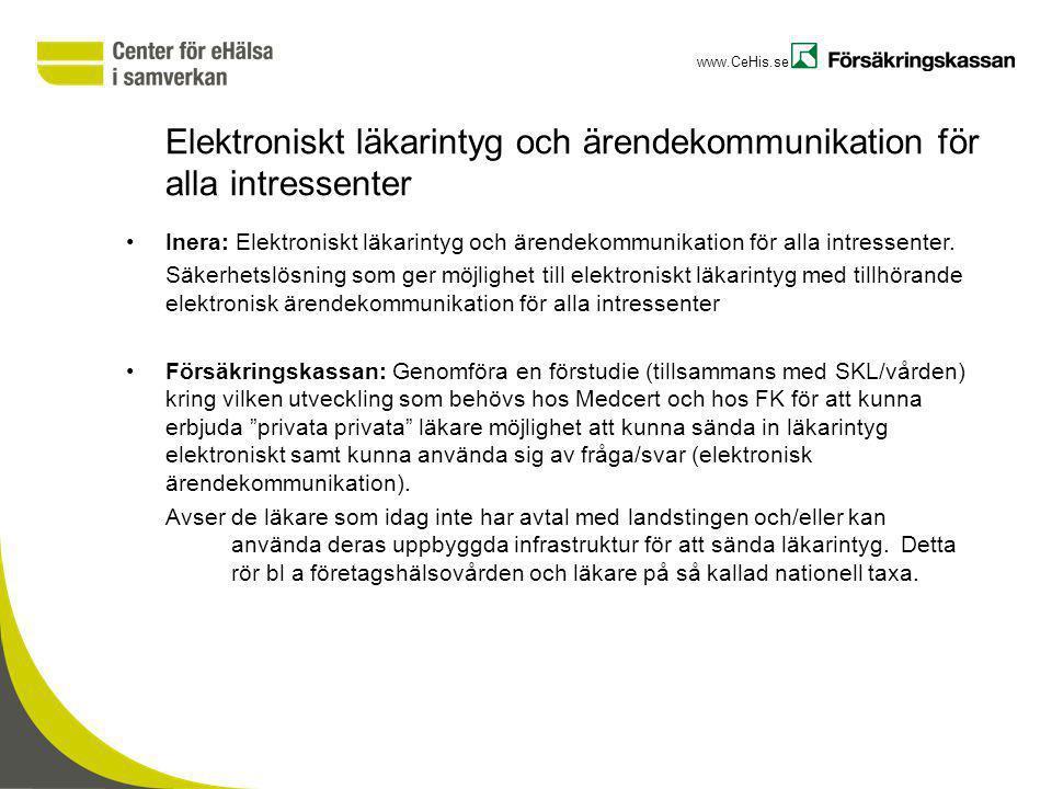 www.CeHis.se Elektroniskt läkarintyg och ärendekommunikation för alla intressenter Inera: Elektroniskt läkarintyg och ärendekommunikation för alla int