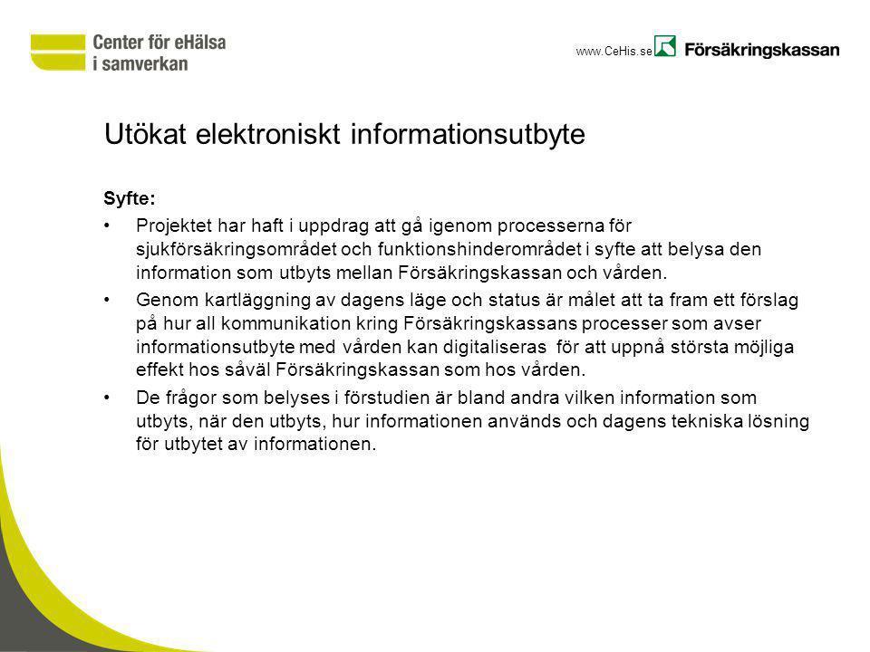 www.CeHis.se Utökat elektroniskt informationsutbyte Syfte: Projektet har haft i uppdrag att gå igenom processerna för sjukförsäkringsområdet och funkt